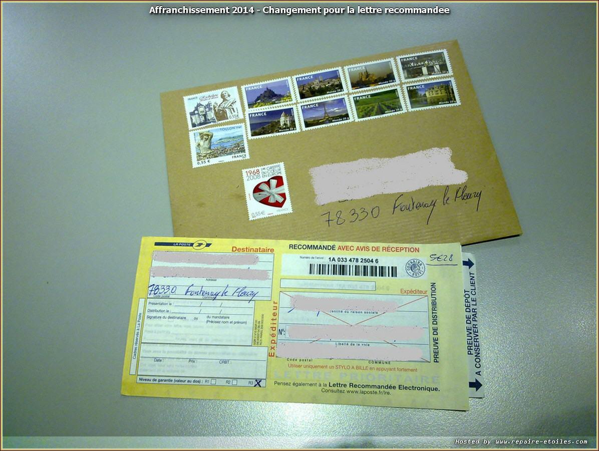 la lettre recommandée Affranchissement 2014   Changement pour la lettre recommandée la lettre recommandée