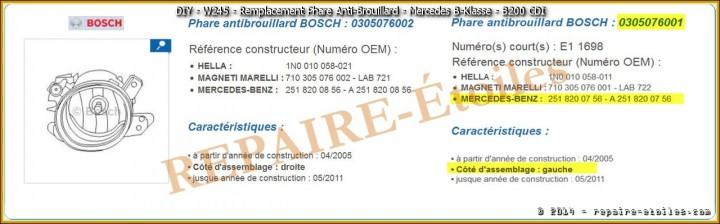 Recherche OSCARO Phare Anti-Brouillard sur mercedes B-Klasse W245