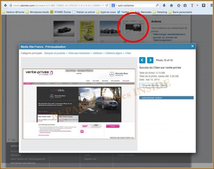 Repaire-Etoiles.com -  sur le site Mercedes France (3) - CITAN RoseDeal Vente-Privée
